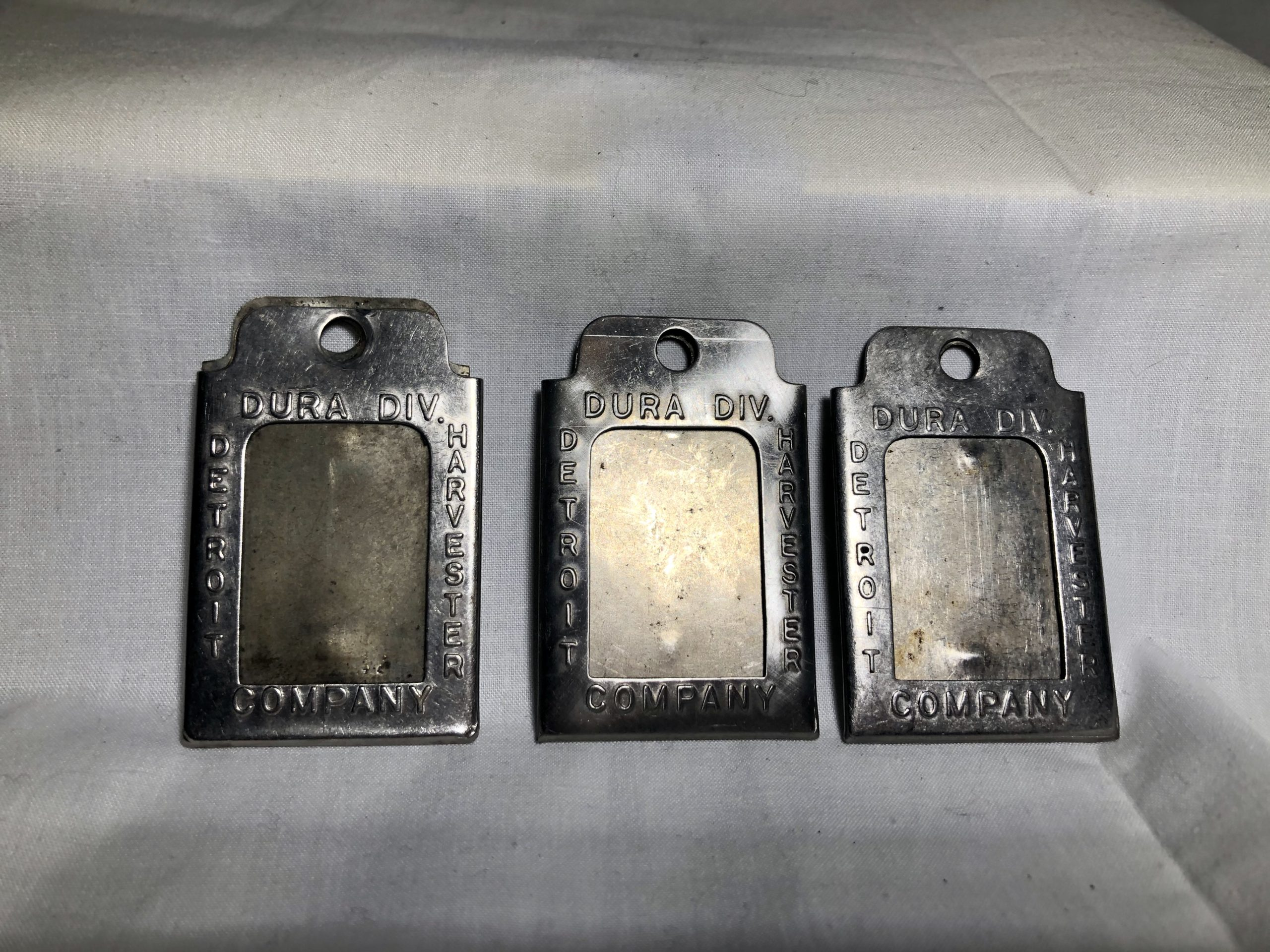 3 Detroit Harvester Dura Div Company Employee Badges
