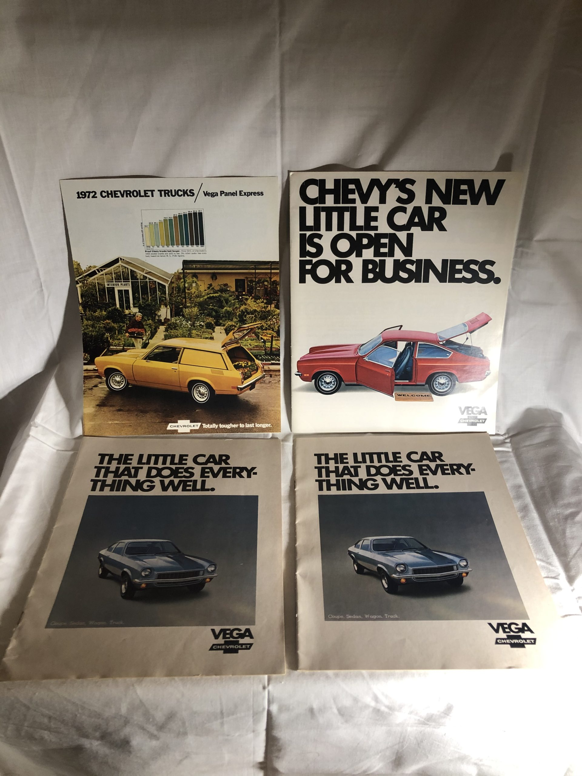 4 Vintage Chevrolet Vega Advertising Manuals, Brochures