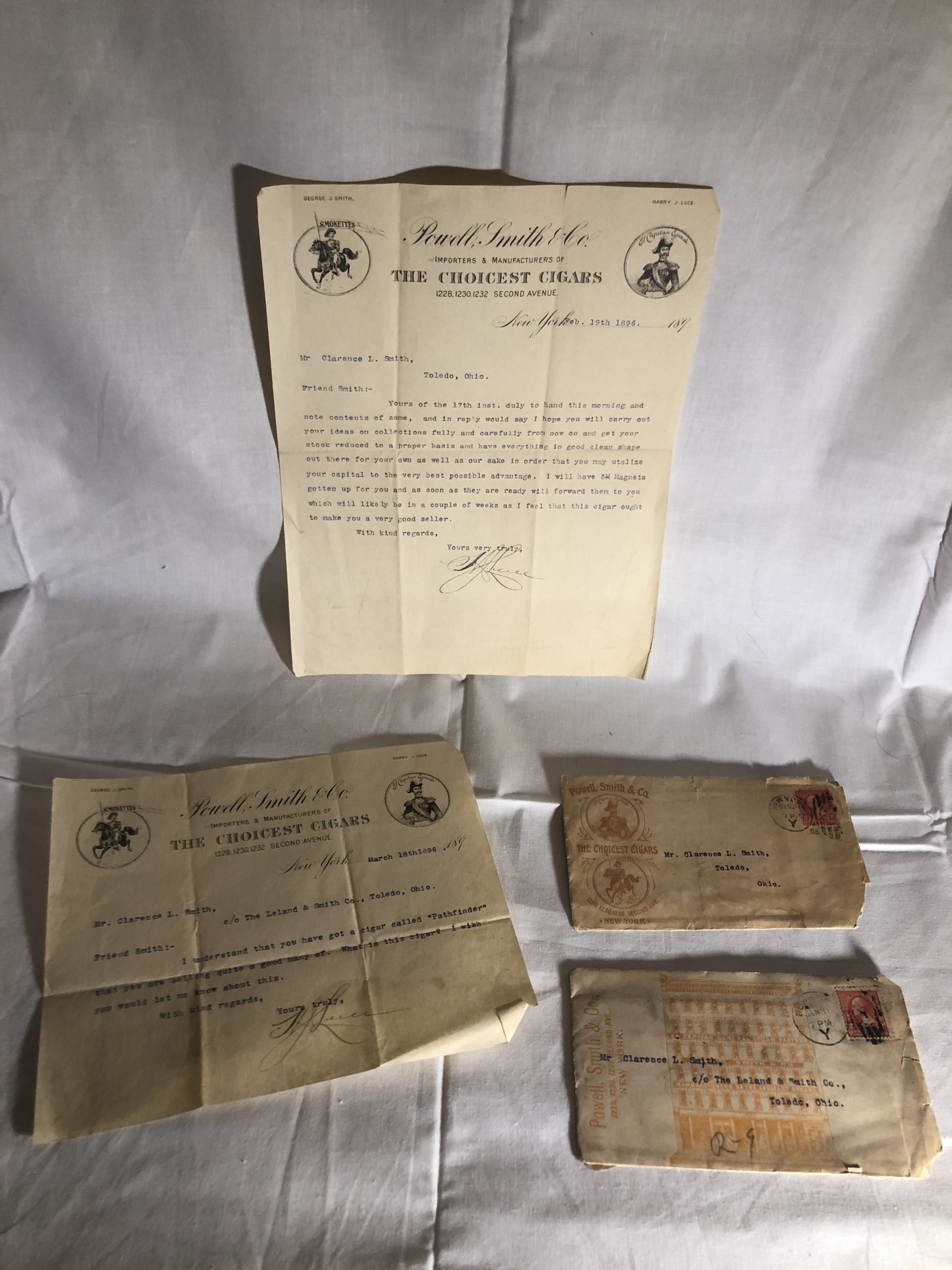 Old, Antique Powell, Smith & Co. Cigar Company Stationary Envelopes and Paper Letter, Postmarked 2¢ Stamps