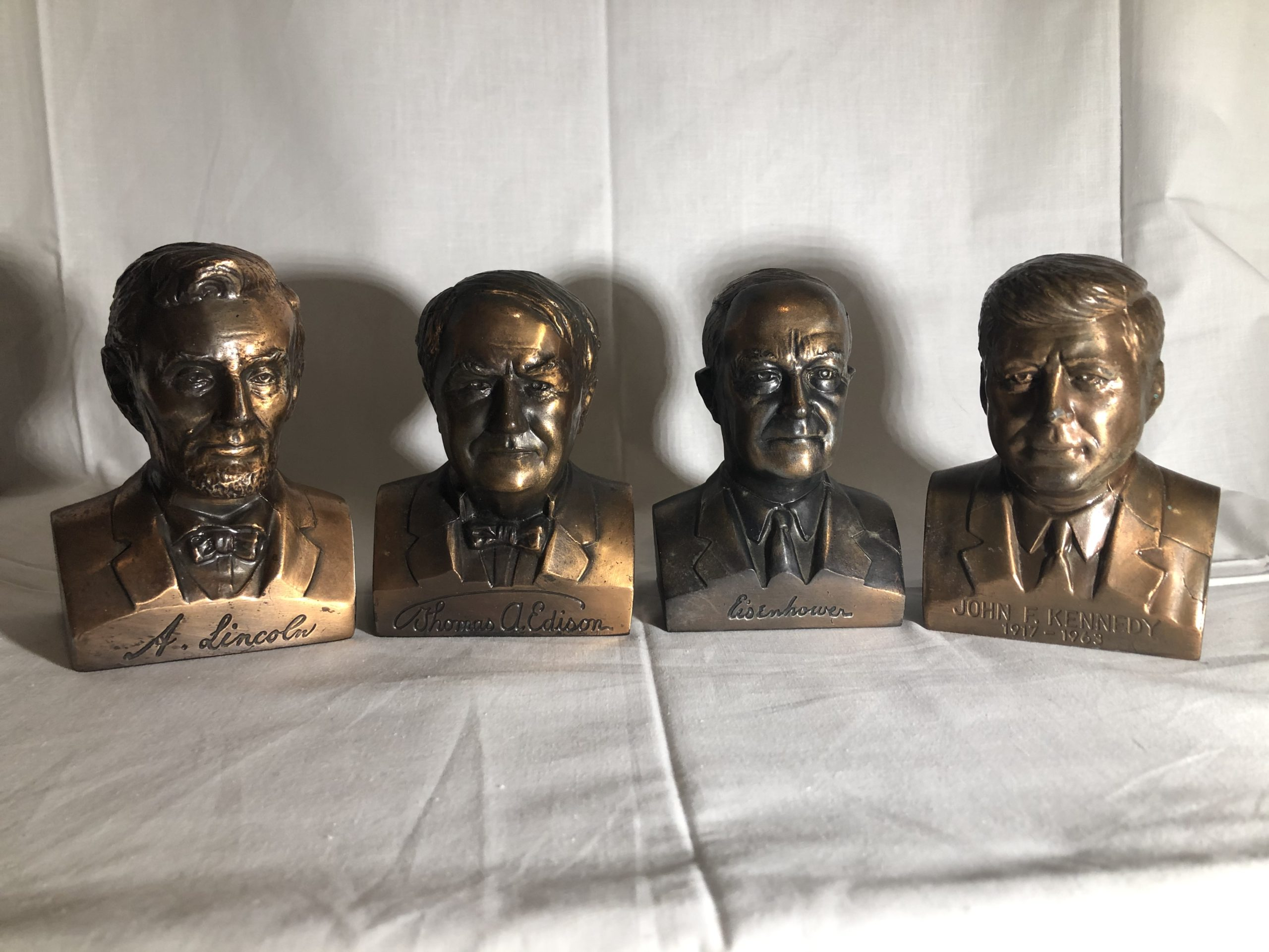 Lot of 4 Historical Figure Advertising Banks (U.S. Presidents & Thomas Edison)