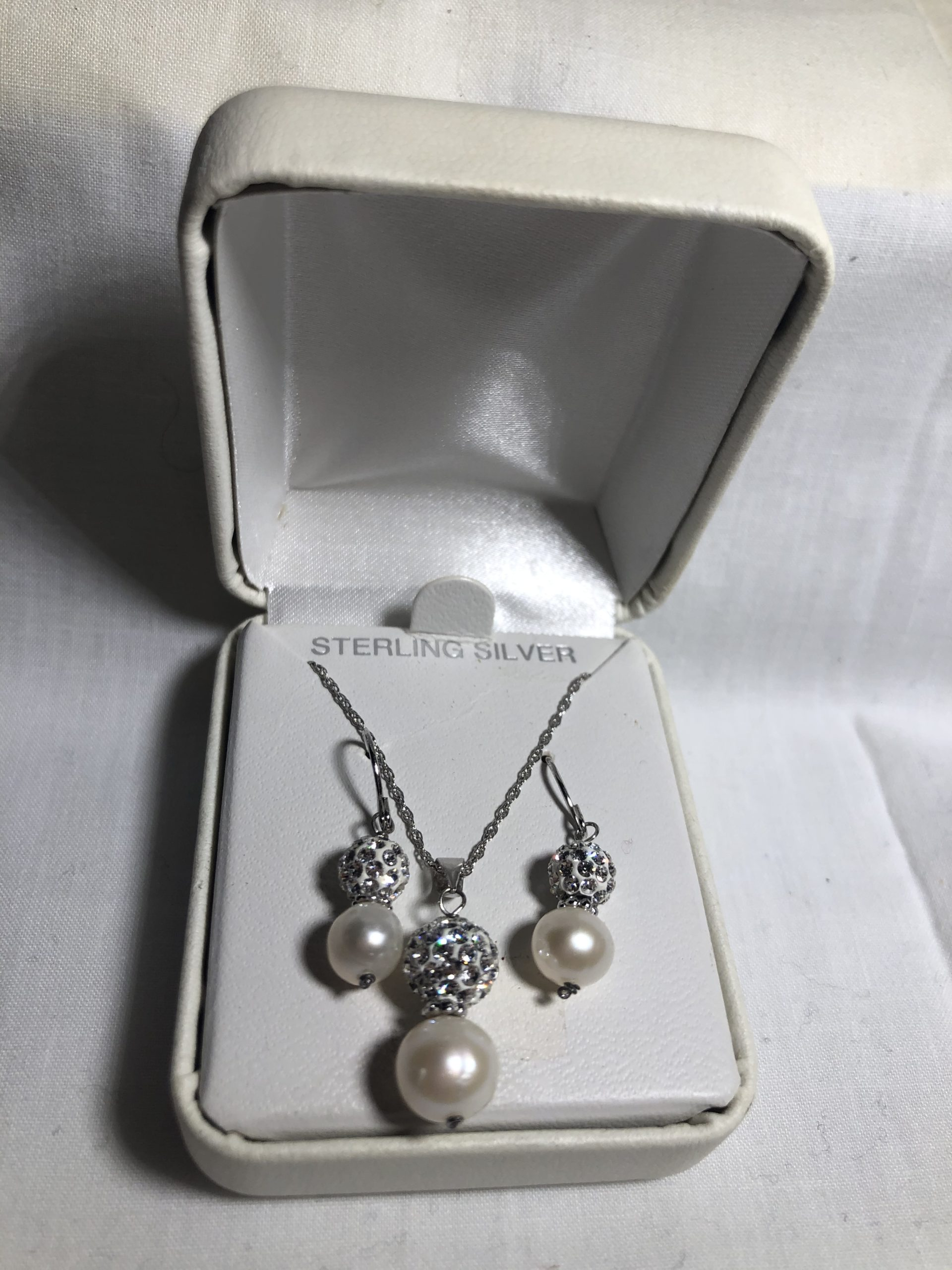 Sterling Silver Matching Necklace & Earring Set, New in Box