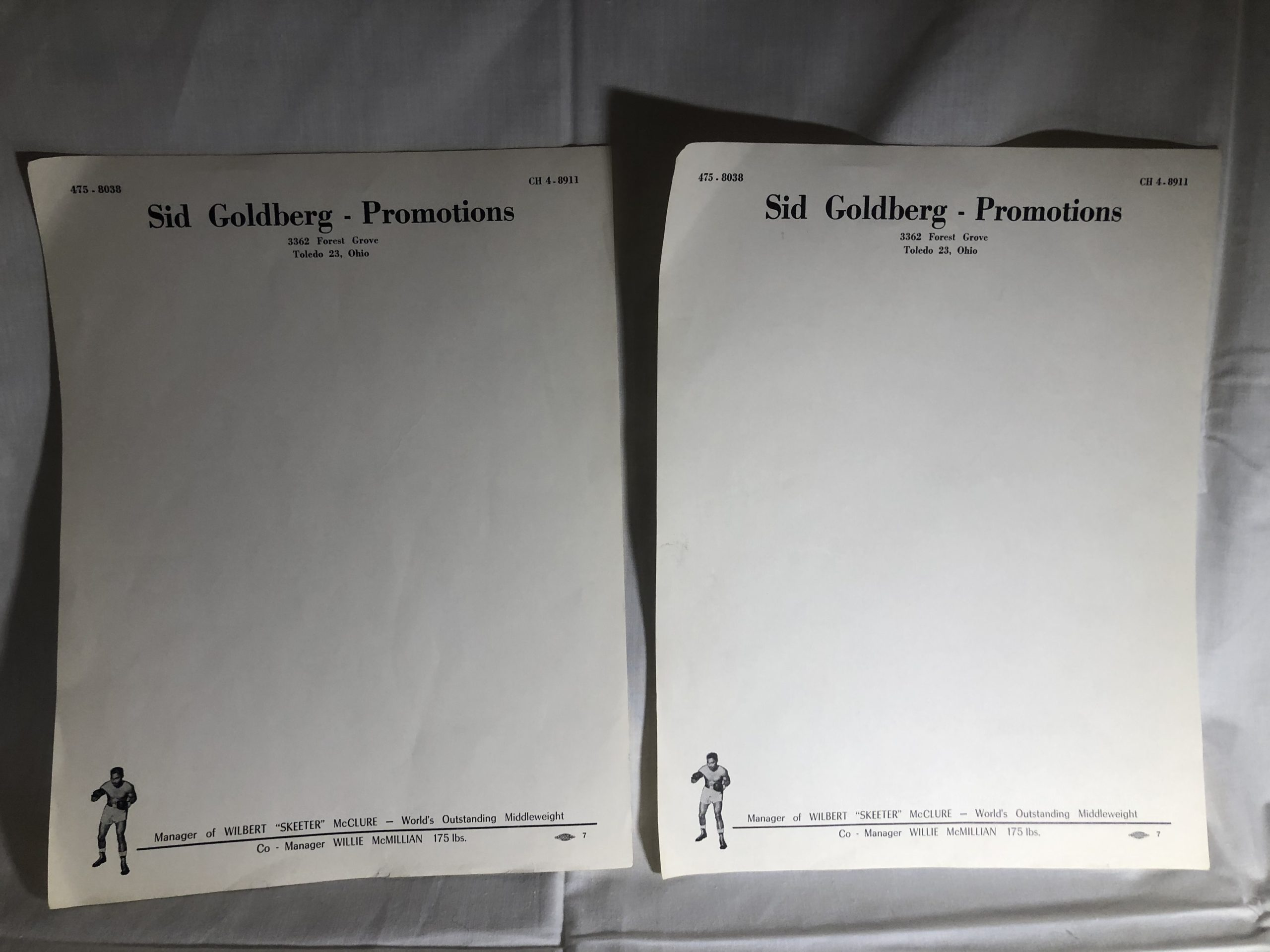 Sid Goldberg Promotions Boxing Letterhead Stationary